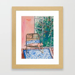 Napping Ginger Cat in Pink Jungle Garden Room Framed Art Print