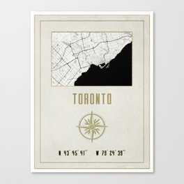 Toronto - Vintage Map and Location Canvas Print