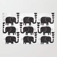 elephants Area & Throw Rugs featuring ELEPHANTS by Matthew Taylor Wilson
