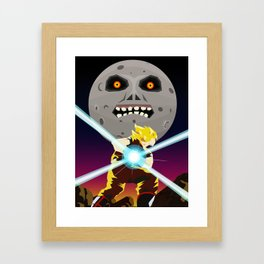 Goku VS Moon Framed Art Print