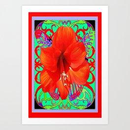 Italian  Style Design Red Amaryllis Abstract Art Print