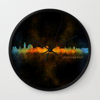 islam Wall Clocks featuring Jerusalem City Skyline Hq v4 by HQPhoto
