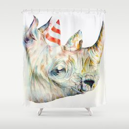 Rhino's Party Shower Curtain