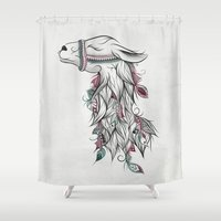 llama Shower Curtains featuring Llama by LouJah