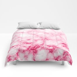 Red/Pink Marble Texture Pattern Comforters