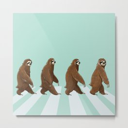 Sloth The Abbey Road in Green Metal Print