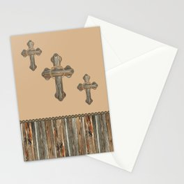 Western Crosses Barn Wood Rope and Concho Print Stationery Cards