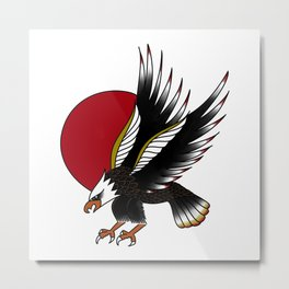 Eagle in the Red Sun Metal Print