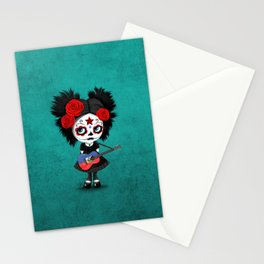 Day of the Dead Girl Playing Haitian Flag Guitar Stationery Cards