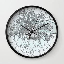 Cork, Ireland, White, City, Map Wall Clock