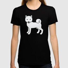 White Shiba Inu Cute Cartoon Dog T-shirt