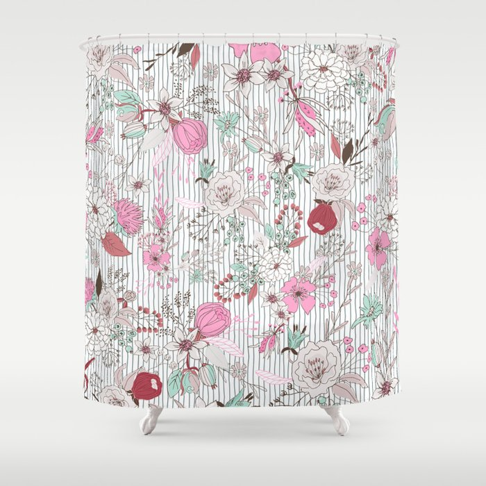 Mauve Pink Pastel Green Rustic Floral Gray Stripes Shower Curtain By