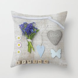 Blue Spring Collage Throw Pillow