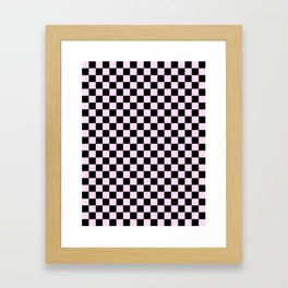 Black and Pink Lace Pink Checkerboard Framed Art Print