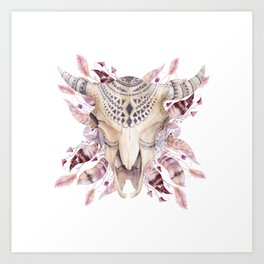 Cow skull with feathers Art Print