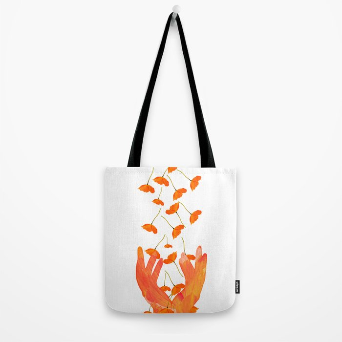Wonderful Poppy Flowers Orange Coral Color White Background #decor #society6 #buyart Tote Bag