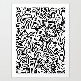 Hand Drawing Graffiti Creatures in the Summer Afternoon Black and White Art Print