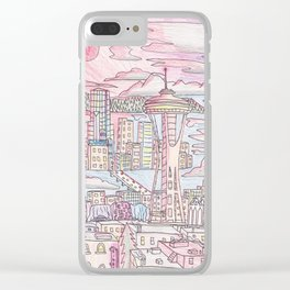 Seattle in Colored Pencil Clear iPhone Case