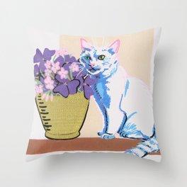 Purple Clover Throw Pillow