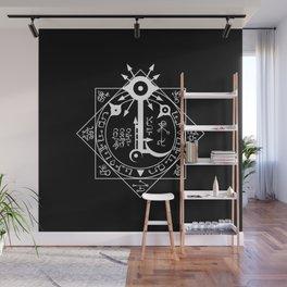 Invisible Sun Symbol on Black Wall Mural