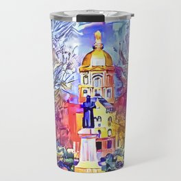 Father Sorin Statue on Notre Dame Main Quad Travel Mug