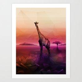Giraffe (Low Poly Pink) Art Print