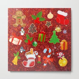 Cute Christmas Mix, red Metal Print