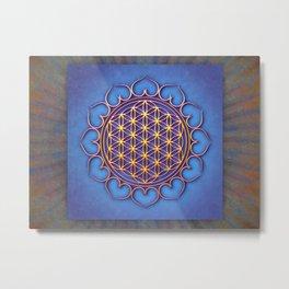 Flower Of Live Lotus - Golden Shine On Blue Beauty II H Metal Print