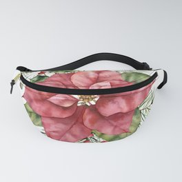 Christmas Poinsettia and Holly, Floral Prints Fanny Pack