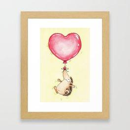 Heart Balloon Hedgehog greeting card by Nicole Janes Framed Art Print