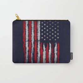 Red & white American flag on Navy ink Carry-All Pouch