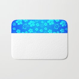 Blue Hawaiian Honu And Tropical Flowers Bath Mat