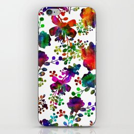 Watercolor unusual  flower rainbow doodle iPhone Skin