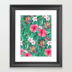 Classic Tropical Garden with Pink Flowers Framed Art Print