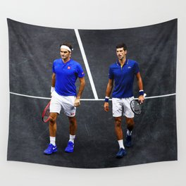 Federer and Djokovic Doubles Wall Tapestry
