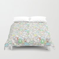 a lot of cats Duvet Covers featuring Doodle Cats by KiraKiraDoodles