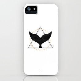 Black Gold Whale Tail Geometric Shapes iPhone Case