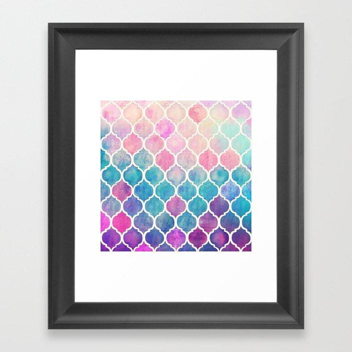 Rainbow Pastel Watercolor Moroccan Pattern Framed Art Print