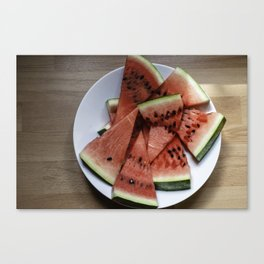 Flat lay of  watermelon on the wooden surface Canvas Print