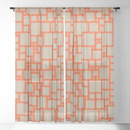 abstract cells pattern in orange and beige Sheer Curtain