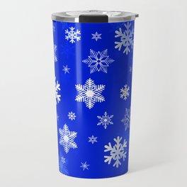 Light Blue Snowflakes Travel Mug