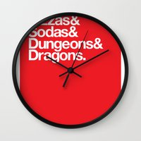 dungeons and dragons Wall Clocks featuring Dungeons & Dragons & Swag by Tuff Industries