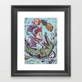 Croc Hunters Framed Art Print
