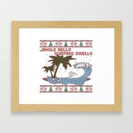Surfing Christmas Framed Art Print