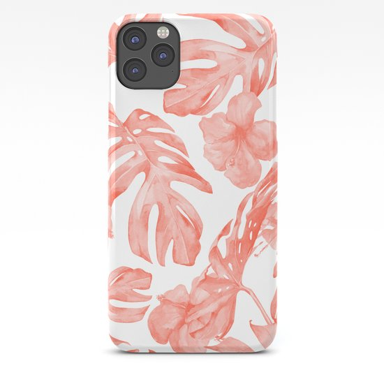 Tropical Hibiscus and Palm Leaves Dark Coral White by followmeinstead