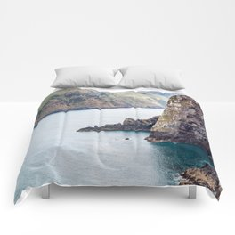Cliff Face, Akaroa, New Zealand Comforters