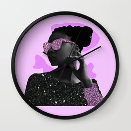 Rock Star Glitter Collage Wall Clock