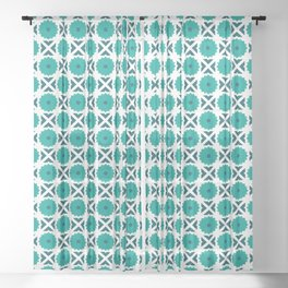 Flowers and spikes – turquoise Sheer Curtain