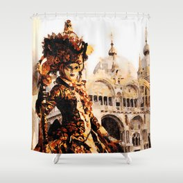 Parade in Grand Canal Riverside, Venice - Italy Shower Curtain