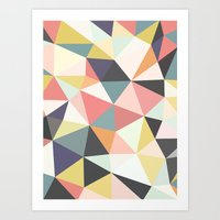 deco Art Prints featuring Deco Tris by Beth Thompson